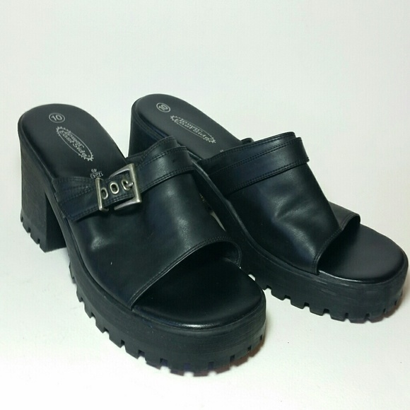 1b04a2d325eec9 90 s chunky shoes black slip on 10 lower east side